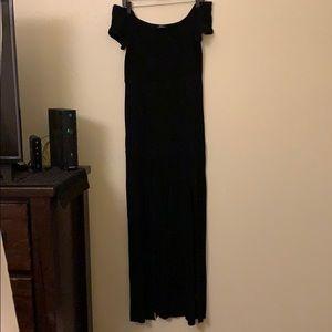 Express off the shoulder dual slit long maxi dress